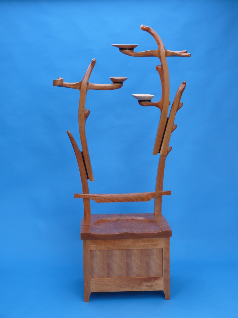 Cherry bench with sculpted tree for coats, scarves and hats
